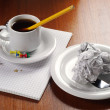 Crumpled paper and coffee — Stock Photo