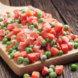 Frozen carrots and peas — Stock Photo