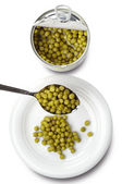 Green peas canned — Stock Photo