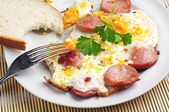 Breakfast with eggs and sausage — Foto de Stock