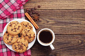 Taza de café y chocolate cookies — Foto de Stock