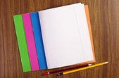 Cuadernos escolares abierto — Foto de Stock