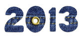 The New Year 2013 - blue jeans fonts, isolated over white background — Stock Photo