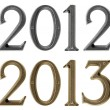 New year 2013 is coming concept - metal numbers 2012 and 2013 — Stock Photo