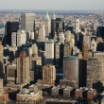 New York City Manhattan skyline aerial view with skyscrapers — Stock Photo #19563661