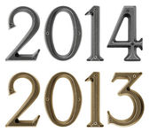 New year 2014 is coming concept - metal numbers 2013 and 2014 — Stock Photo