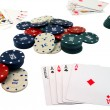 Playing cards and chips to play poker. — Stock Photo #20942253