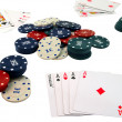 Playing cards and chips to play poker. — Stock Photo