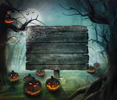 Halloween design - skogen pumpor — Stockfoto