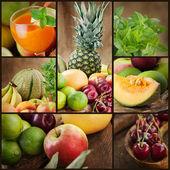 Frutas frescas y jugos collage — Foto de Stock