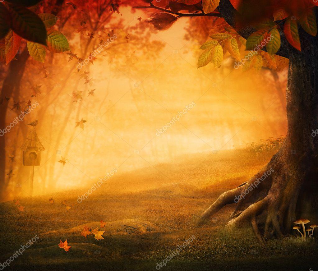 Фотообои Осенний дизайн - лес осенью