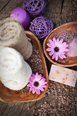 Violet dayspa nature set — Stock Photo