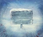 Winter ontwerp - kerstmis vallei met teken — Stockfoto