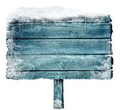 Hölzerne schild im winter — Stockfoto