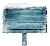 Wooden sign in winter — Foto de Stock