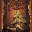 Christmas card - Rudolph with tree in wooden frame — Stock Photo