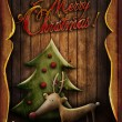 Christmas card - Rudolph with tree in wooden frame — Stock Photo #16323581