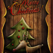 Stock Photo: Christmas card - Rudolph with tree in wooden frame
