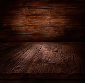 Wood background - table with wooden wall — Stockfoto