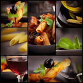 Penne with olives collage — Photo