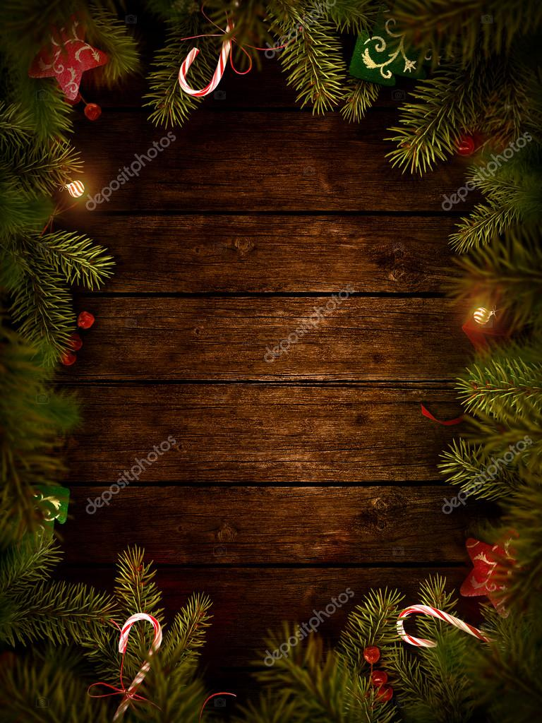 - Merry Christmas. Xmas border card with with copyspace on wooden ...