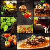 Colagem de comida - almondegas — Foto Stock