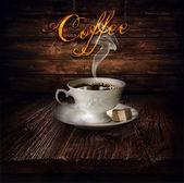 Projekt - czarny jedzenie kawa — Zdjęcie stockowe