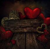 Valentines design - Hearts on wood — Stock Photo