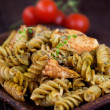 Fusilli pasta pesto - Stock Photo
