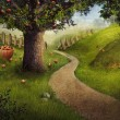 Nature design - apple orchard - Stock Photo