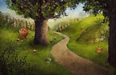 Nature design - apple orchard — Stock Photo