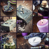 Lavender dayspa collage — Stock Photo