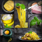 Pasta carbonara collage — Stock Photo