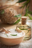 Spa setting with bath salt and soap — Stock Photo