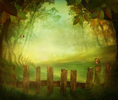Spring design - Forest with wood fence — Stock Photo