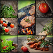Grill-bbq-collage — Stockfoto