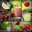 Fruit drinks collage — Stock Photo