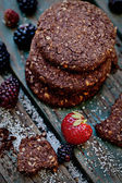 Oatmeal chocolate cookies with fruit — Stock Photo