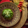Restaurant autumn place setting — Stock fotografie
