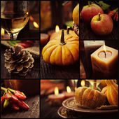 Autumn dinner collage — 图库照片