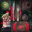 Christmas dinner collage — Stock Photo