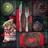 圣诞晚餐拼贴画 — 图库照片