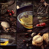 Winter tea collage — Stock Photo