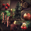 Christmas ornaments collage — ストック写真