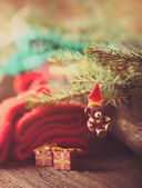 Christmas rustic decoration — Stock Photo
