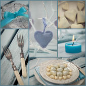 Valentines dinner collage — Stock Photo