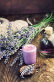 Lavender spa setting — 图库照片