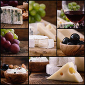 Kaas en wijn collage — Stockfoto