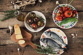 Fish and vegetables — Stock Photo