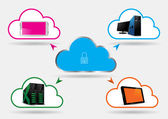 Secured Cloud Computing - Vector Illustration — Vetorial Stock